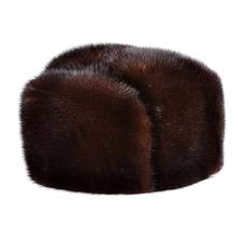 LUXURY 2018 Winter Man Top Real Mink Fur Bomber Hat Male Genuine Marten Head Warm Black