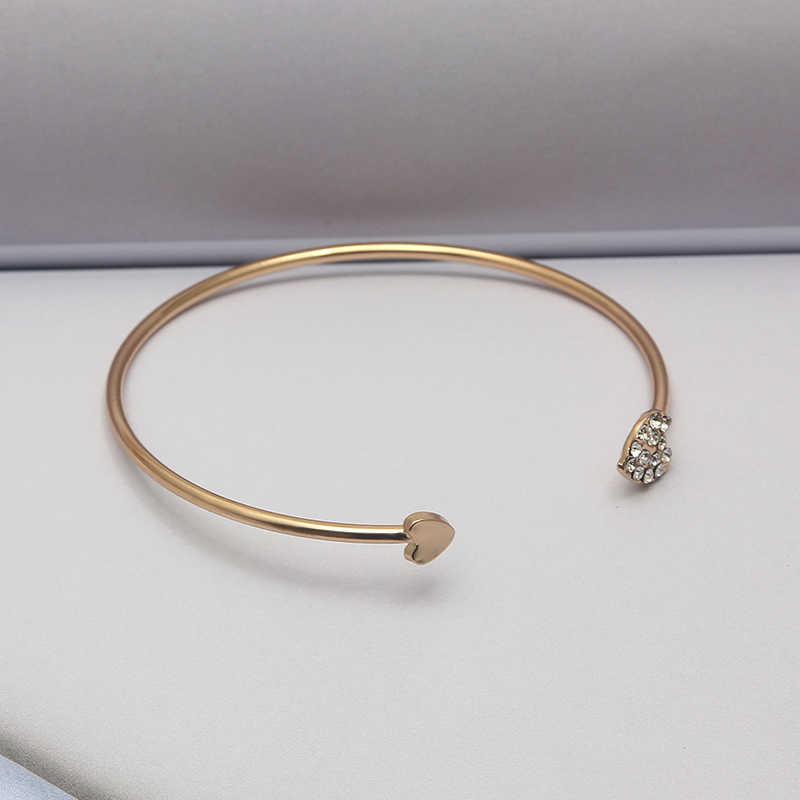 สุกี้ Vintage ผู้หญิงเปิดเล็บทองแดงหัวใจทองที่เรียบง่ายสี Elegant โลหะกำไลข้อมือสำหรับผู้หญิงเครื่องประดับ Pulsera