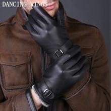 Jesienne i zimowe rękawiczki buckskin męskie skórzane rękawiczki modna klamra na zewnątrz ciepłe rękawiczki z prawdziwej skóry dla mężczyzn tanie tanio CJ-21 DANCING WINGS Moda COTTON Nadgarstek Stałe Dla dorosłych