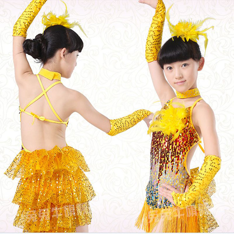 Latin Dance Dress For Girls Costumes Kids Clothes Ballroom Competition Dresses Fashion Leotard Sequin Sequined Tassel Salsa