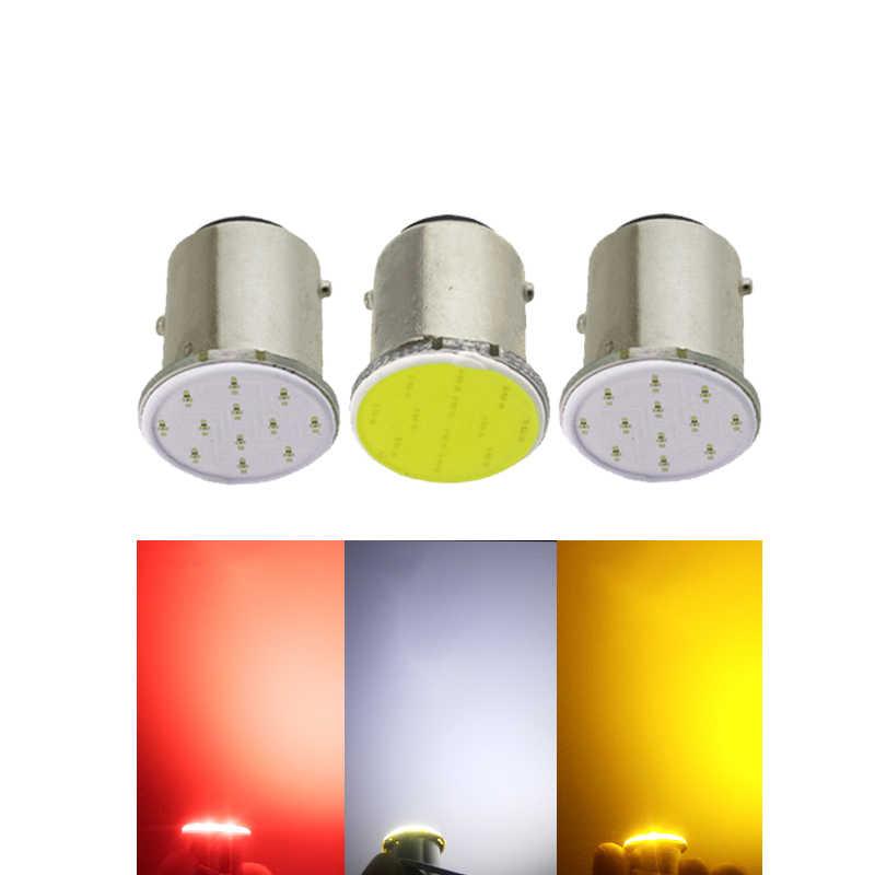 1x P21W 1157 Bay15d 1156 BA15S P21W LED żarówka światła kierunkowskazu COB samochodów wewnętrzna lampka Parking rewers powrót światło hamowania Super jasny 12V