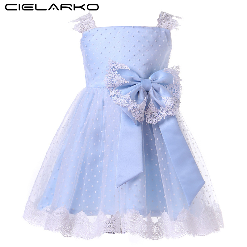 цена Cielarko Baby Girls Lace Dress Elegant Tulle Toddler Party Dresses Blue Kids Summer Formal Frocks Bow Polka Dot Clothes for Girl