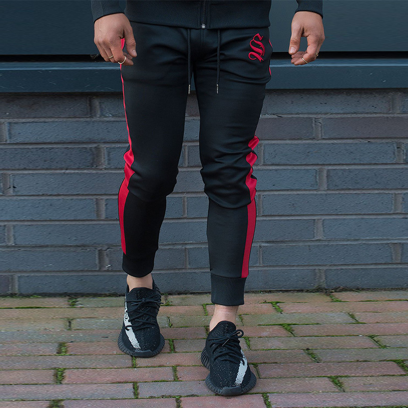 Mens Gyms Fitness Slim Pants Black plus red striped tight trousers Mens Workout Bodybuilding Slim Trousers Casual trousers