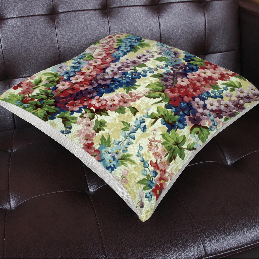 Cotton Linen Cushion Covers Decorative Flowers Printed Pillowcase For Home Sofa Office Chair Car Seat Throw Pillow Decoration