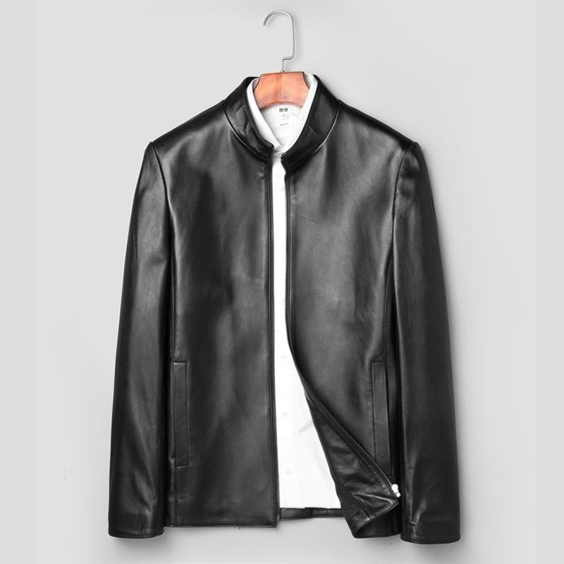 2018 Herbst Neue Leder Echtes Jacke Männer Einfache Casual Business Leder Jacke Schaffell Männlichen Luxus Mode Jaqueta De Couro