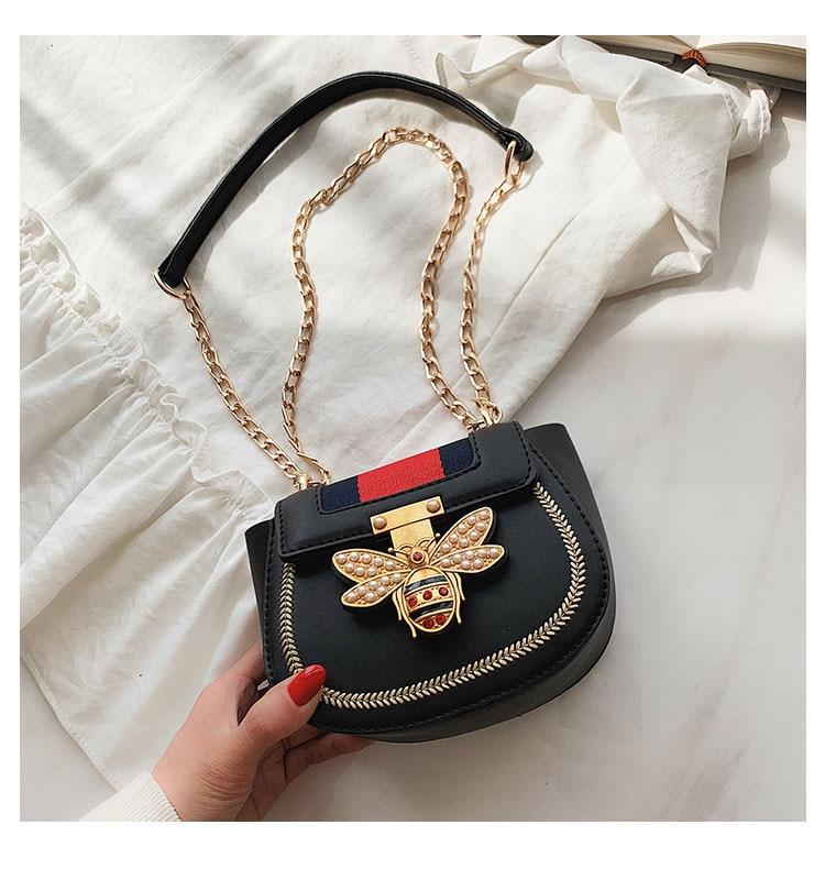 Imitation Designer Bags Fashion Bee Shoulder handbag for women Luxury Round PU Cross body Chain Bag Pearl Metal Lock Women's Bag (6)