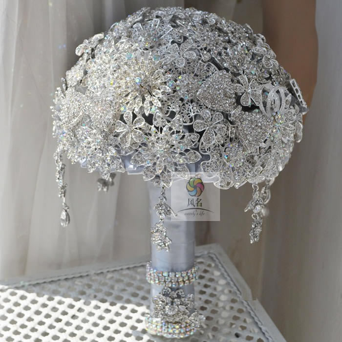 Top Quality Handmade Jewelry Brooch bouquet Bridal Crystal Bling