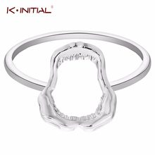Kinitial Chic Shark Tooth Skull Rings Hell Demon Mouth Goth Emo Fancy Dress Finger Ring for Women Teen Girls Best Jewelry(China)