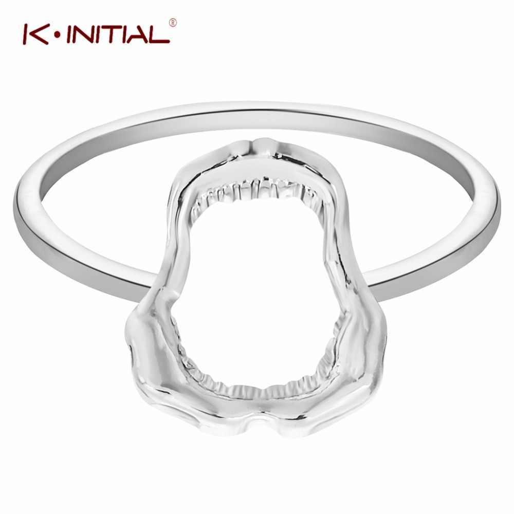 Kinitial Chic акулий зуб череп Кольца ад демон рот гот эмо нарядное платье палец кольцо для Для женщин подростков Обувь для девочек Best ювелирные изделия