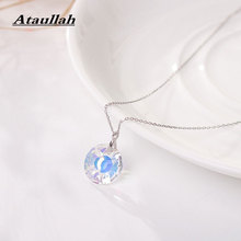 Ataullah Chokers Necklaces Classic Purple Crystal Round Pendants Chain For Women 925 Pure Silver Necklaces Jewelry NW001 цена