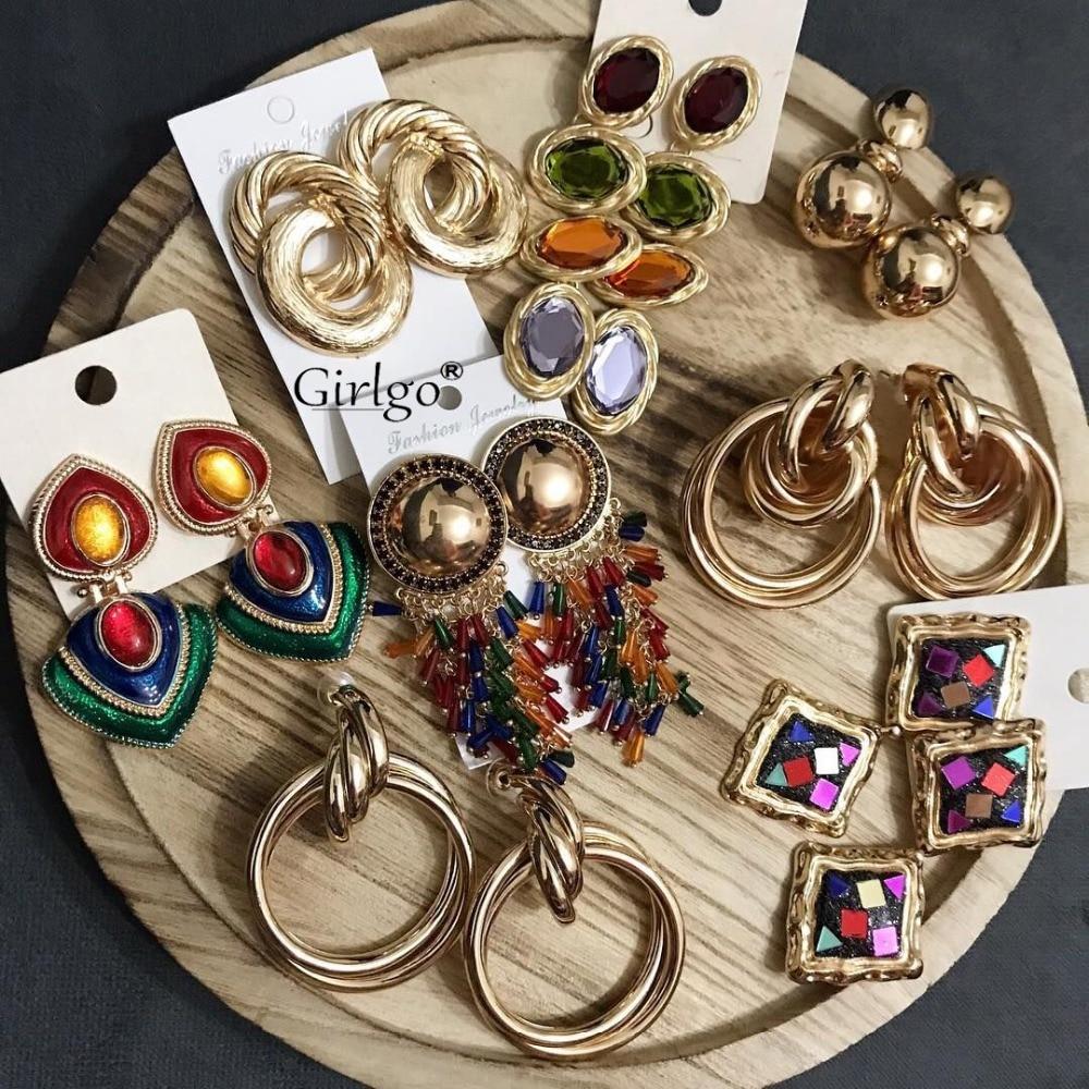 Girlgo Brand Za Crystal Drop Dangle Earrings For Women Charm Maxi Statement Earrings Colorful Trendy Pendant Wholesale Jewelry