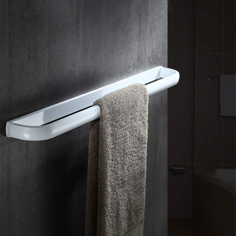 Us 53 4 40 Off Nordic Solid Br White Painting Towel Rack Bathroom Single Bar Wall Mounted Accessories Set In Bars From
