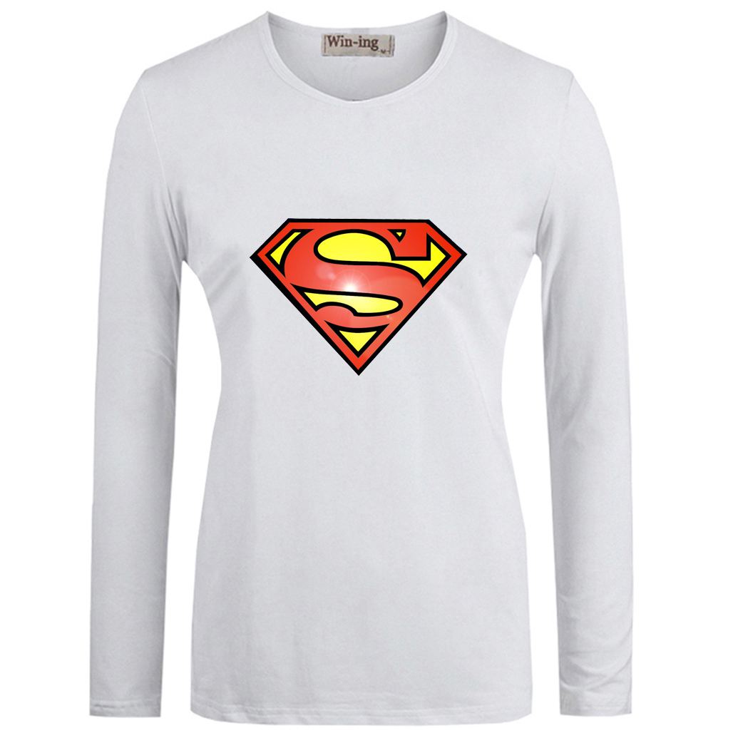 Casual America Super Hero Superman DC Kal-El Art Pattern Cotton T shirts Women's Girl's Long Sleeves Graphic T-shirt Tee Tops