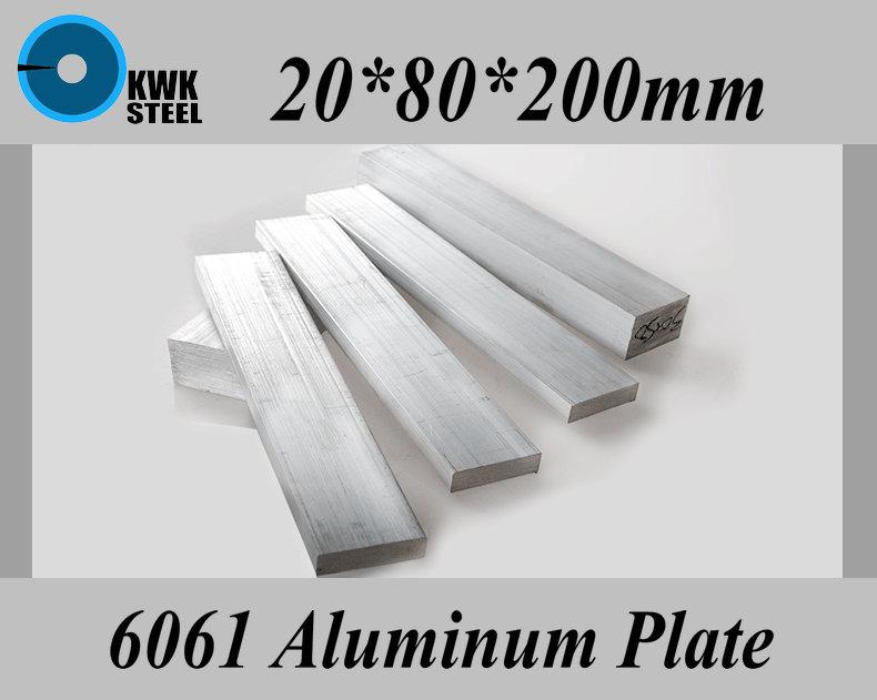 20*80*200mm Aluminum Alloy 6061 Plate Aluminium Sheet DIY Material Free Shipping 20 200