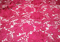 hot pink lace fabric with 3D floral, guipure lace fabric ,crochet venise lace fabric, bridal lace fabric with 3D flowers