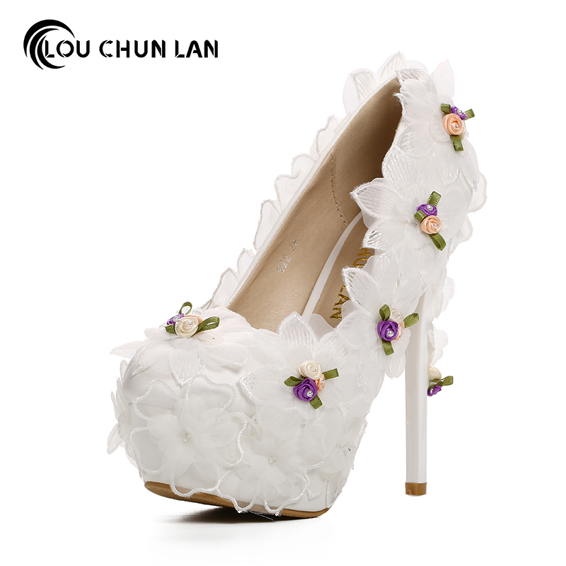 Pumps Women's Shoes Aesthetic fashion White chiffon Flower Bridal Shoes ultra High Heels thin Heels Shoes Wedding Shoes party