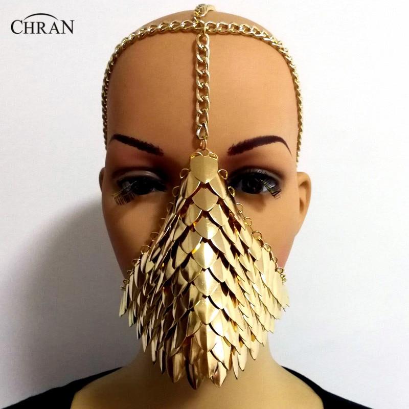 Chran Chainmail máscara sujetador Scalemail hombro armadura Cosplay Burning  Man tocado cabeza cadena diadema Medieval Ren a9de51e02f59