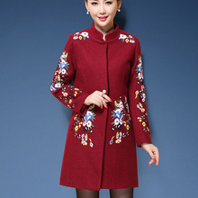 Chinese Style Plus Size M-5XL Vintage Long Coat Women Trench Coat 2018 Embroidery Casaco Feminino Woolen Winter Coat For Women floral trench coat women autumn and winter fashion runway plus size vintage royal embroidery lady woolen overcoat female m 4xl