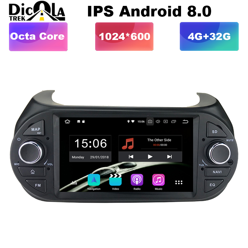 7 HD Android 8 0 Car Radio Car Multimedia player GPS DVD For FIAT Fiorino Qubo