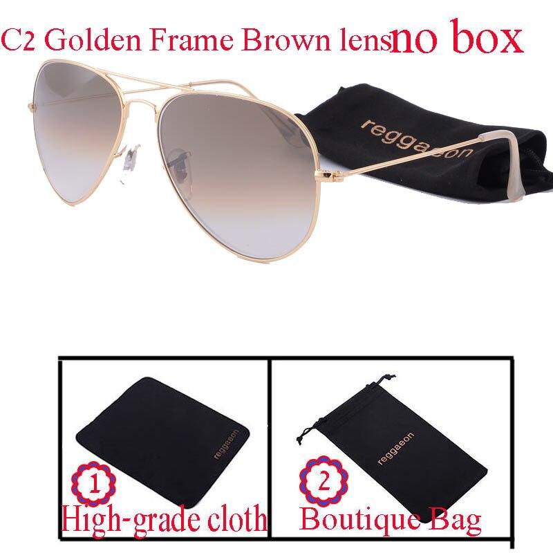 2018 reggaeon brand glass lens sunglasses women Men driving Pilot hot rays aviator sunglasses 3025 reys Color blue high quality
