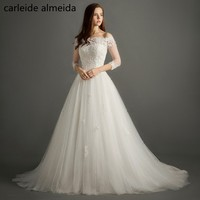 Vestidos De Novia A Line Wedding Dress Boat Neck Sexy Wedding Gowns Robe De Mariee 3