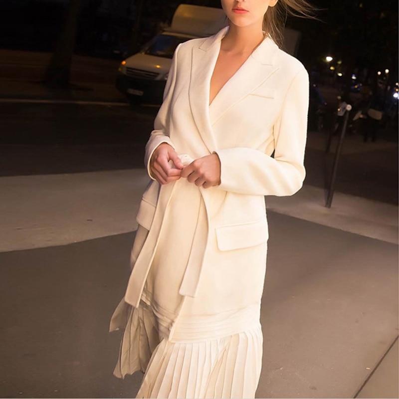 Plissée Gamme Manches Longues Longs À Personnalisé 2019 Blanc Élégant De Femmes White Printemps Ourlet Pardessus Bandage Femme Manteaux Trench vent Coupe Haut 45xq68w