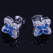 Clean Star Blue Cubic Zirconia White CZ 925 Sterling Silver Stud Earrings For Women V0178
