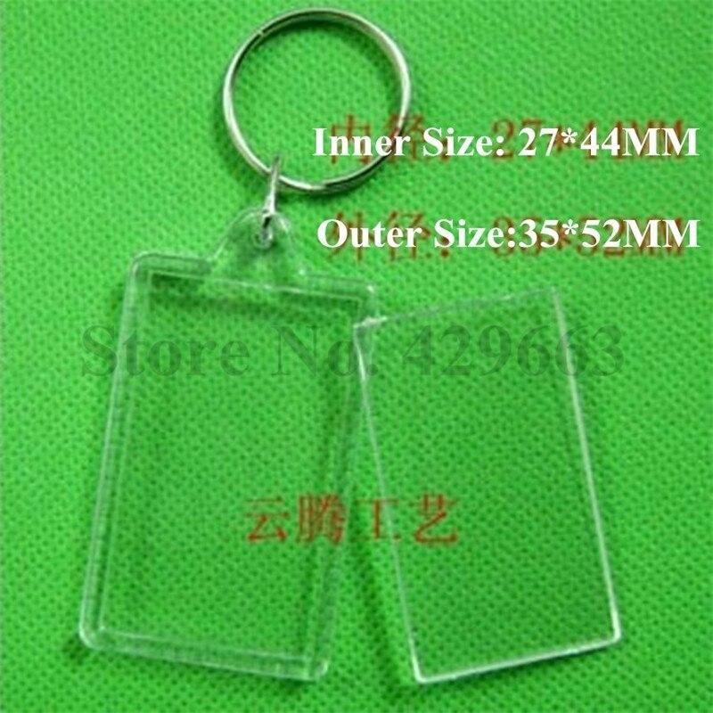 600ชิ้น/ล็อตใหม่ที่ว่างเปล่าสี่เหลี่ยมผืนผ้าภาพคริลิคพวงกุญแจพลาสติกพวงกุญแจรูป-ใน พวงกุญแจ จาก อัญมณีและเครื่องประดับ บน   1