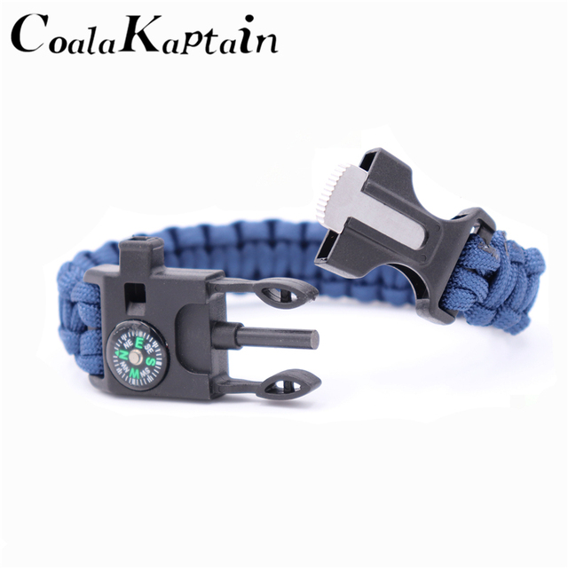 Paracord Survival Bracelets for Men Women Outdoor Bangles Jewelry Wrap Rope Knife 4 in 1 Multi-function Braided Bracelets 2018