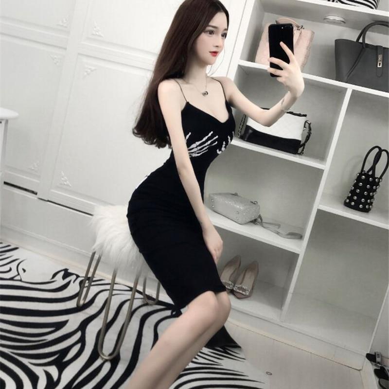 Hot Sale Knee Length Ling Girls Summer Dress 2018 Black Slim Sexy Ladies Dresses 2018 Girls Dress Women 2018 Free Shipping Xg004 In Dresses From Womens