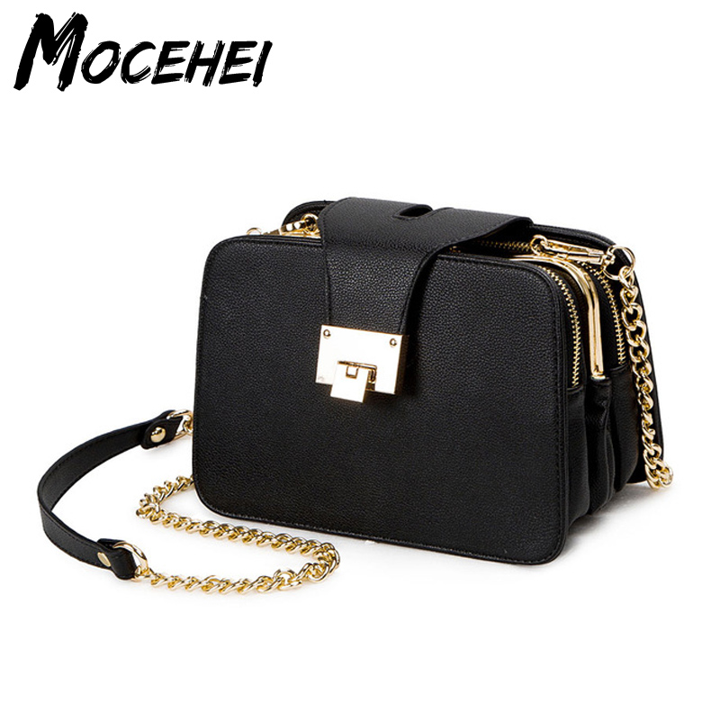 Women Messenger Bag With Metal Buckle Chain Strap Flap New Fashion Designer Handbags Ladies Causual Clutch Bags Sac A Main LY037