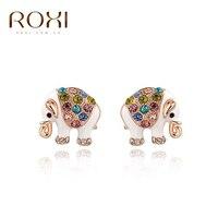 10pcs/lot 2017 ROXI Crystal Stud Earrings Charms Brincos Cute Elephant Animal White/Rose Gold Wedding Earrings Jewelry Wholesale