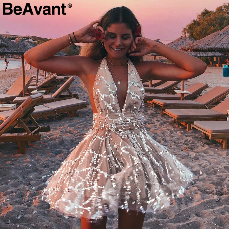 BeAvant Sexy backless sequin   jumpsuit   party women V-neck mesh high wasit short   jumpsuit   Elegant sash tassel romper overalls