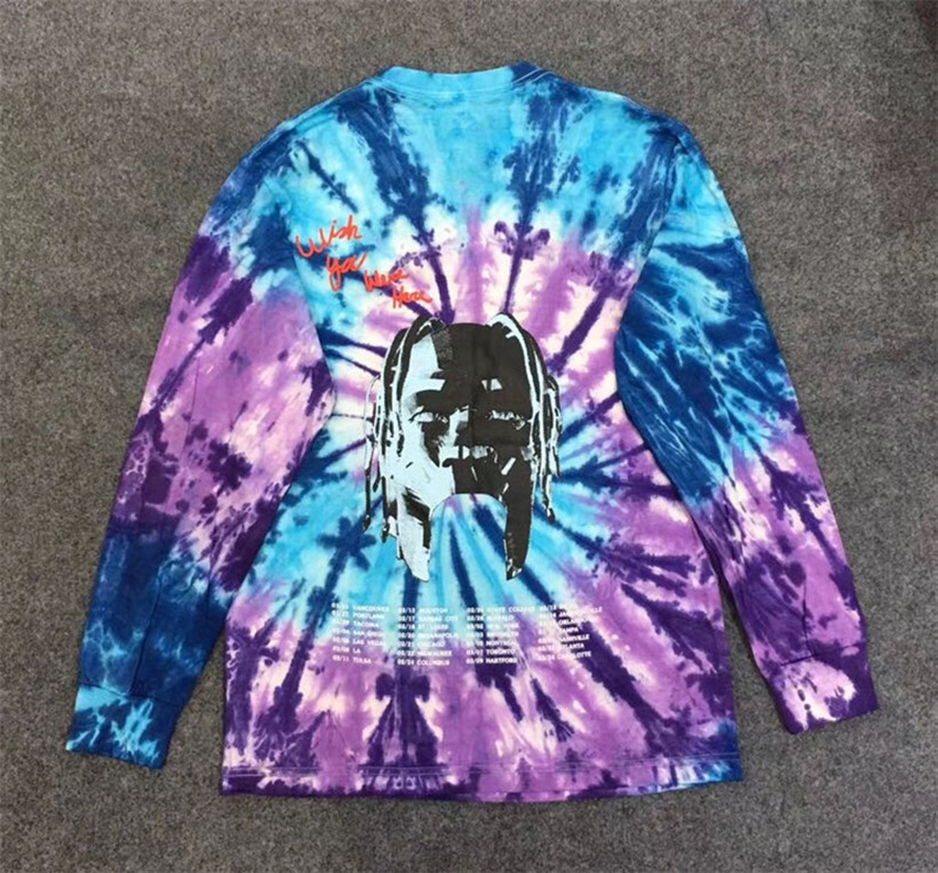 08a909733fe8 Travis Scott ASTROWORLD TRAVIS SCOTT TIE DYE LONGSLEEVE Tee T Men Women 1:1  Tie