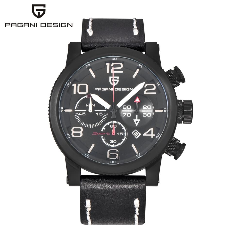 Pagani diseño negro Militar reloj mens impermeable cronógrafo deporte  ejército reloj hombres Saat Relogio Masculino 1008a12abfe