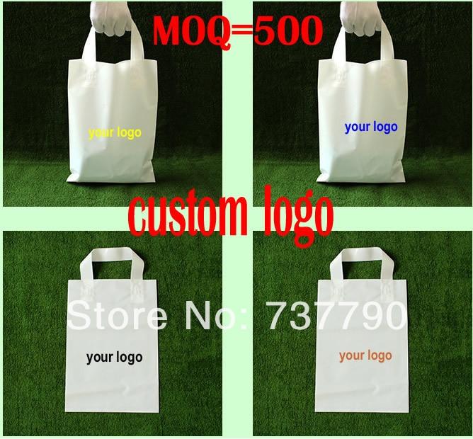 Bolsa de regalo de plástico con mango de Compra Personalizado de 25x35 cm/bolsa de embalaje de plástico para ropa/Promoción de logotipo impreso bolsa
