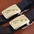 Cintos de grife Homens de Alta Qualidade do Couro Genuíno Sólida Bronze Leopard Fivela de Cinto Homens Cinto Ceinture Homme Cinturones Mujer MBT0233