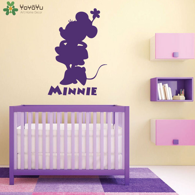 YOYOYU Cartoon Animal Wall Stickers For Kids Rooms Minnie Mouse Wall Decal  Play Room Personalized Name