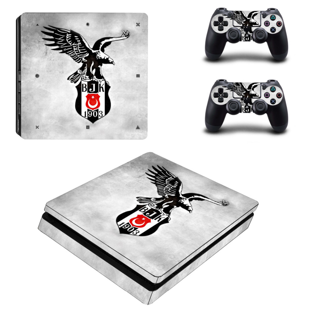 PS4 Slim Skin Sticker For Sony PlayStation 4 Console and 2 Controllers PS4 Slim Sticker Decal Vinyl - Turkey Besiktas BJK Стикер