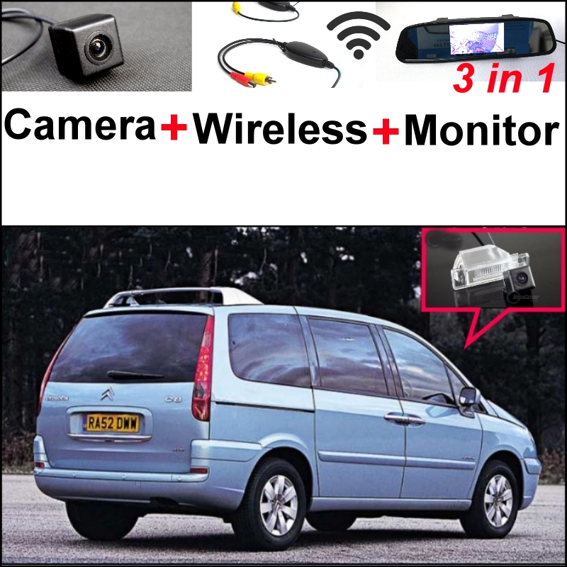 3 in1 Special Camera + Wireless Receiver + Mirror Monitor Easy DIY Back Up Parking System For Citroen C8 MK2 2002~2016 wireless pager system 433 92mhz wireless restaurant table buzzer with monitor and watch receiver 3 display 42 call button
