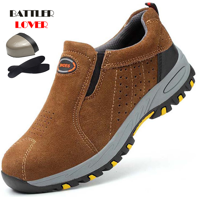 Men's Steel Toe Work Safety Shoes Lightweight Breathable Anti-smashing Work Shoes Male Boots Slip On Casual Sneaker Mens Shoes