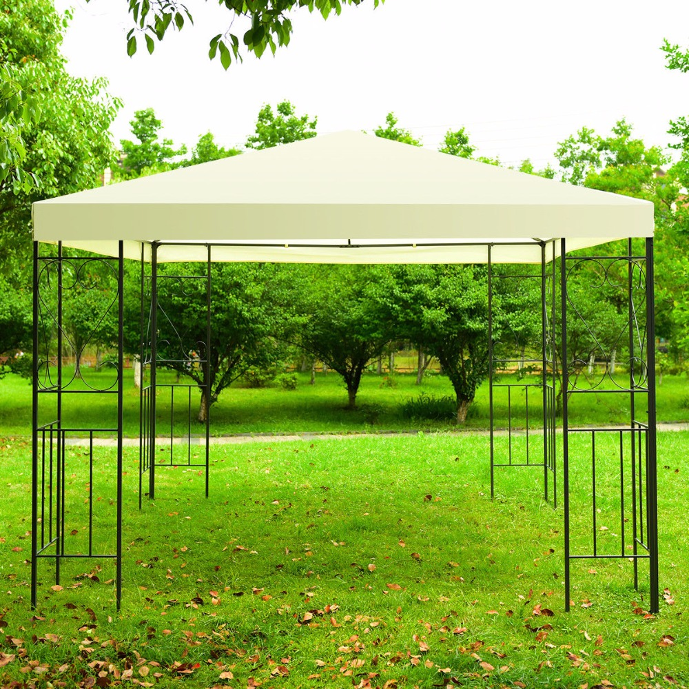 Giantex 10'x10' Patio Gazebo Canopy Tent Steel Frame Shelter Patio Party Awning Outdoor Furniture OP3515 yp100200 100cmx200cm 100x300cm 100x600cm door canopy window awning for balcony garden gazebo patio cover sun shape rain shelter