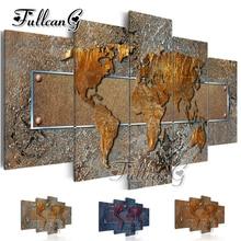 FULLCANG diy 5 pieces diamond painting abstract world map full square/round drill 5d cross stitch embroidery kits decor FC109 fullcang 5pcs diamond painting abstract world map mosaic cross stitch diy 5d diamond embroidery kits full square drill g521