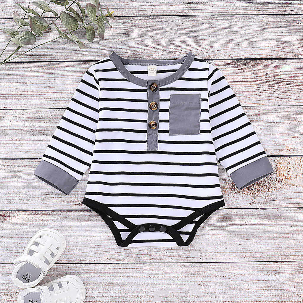 1fd62e5ca Newborn Baby Boy Girl Clothes Long Sleeve Striped Romper Jumpsuit Clothes  Overalls Infantis Costume Suit for