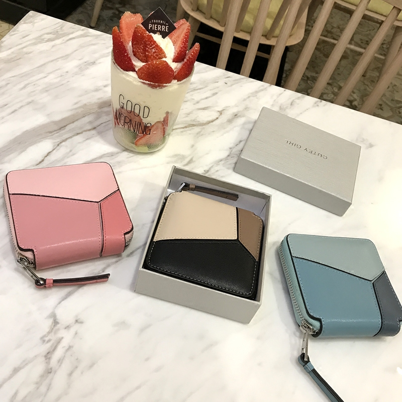 [Hely Coptar] 3Colors Genuine Cow Leather Geometric Patchwork Fashion Women Short Wallet With Zipper Pink Gray Blue 2017New игрушка ecx ruckus gray blue ecx00013t1