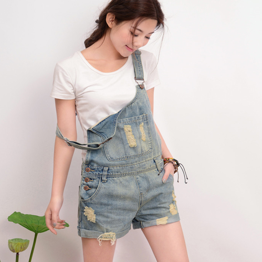 Seily Online Store Vintage Washed Plus Size Short Denim Jumpsuit For Women Summer Strap Pockets Straight Coveralls Mujer Cotton Hole Dungarees