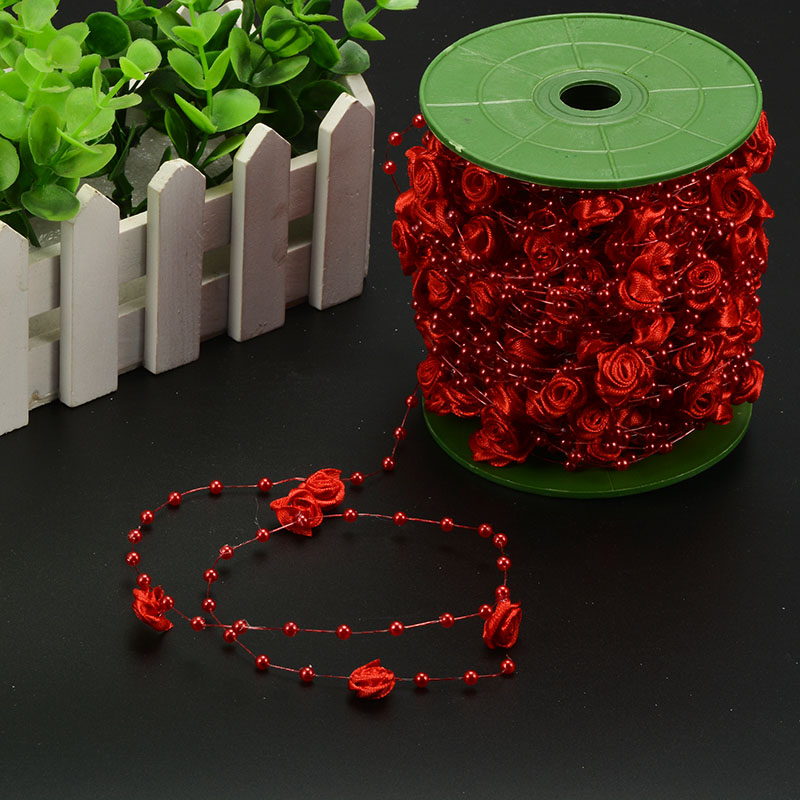 10M pearl beads chain rose flowers wedding party bouquet decorations DIY event ribbon fe ...