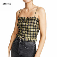 2019 Women Summer Vest Sleeveless T shirts Plaid Tops Cropped Camis