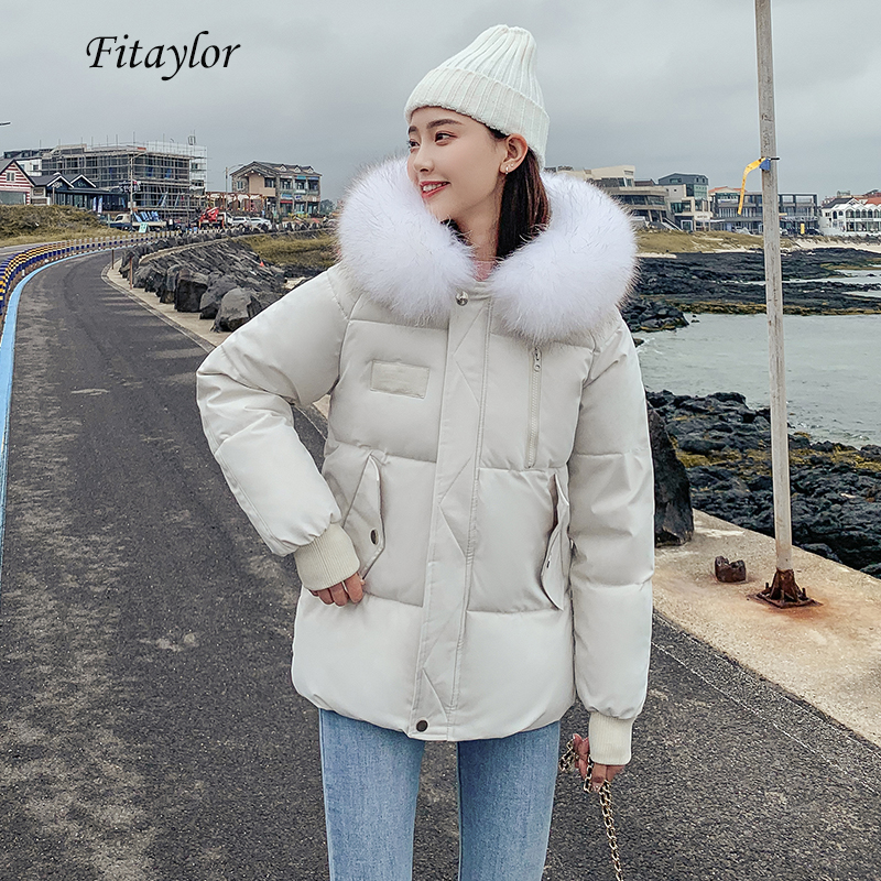 Fitaylor Winter Down Cotton Padded Hooded   Parkas   Women Warm Big Fur Collar Short Jacket Female Loose Casual Breadwear Overcoat