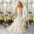 Alta Qualidade de Moda de Nova Lace Sereia Champagne e Marfim Vestidos de Casamento Fora Do Ombro vestido de Noiva Tamanho Personalizado